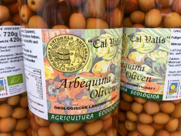 bio arbequina oliven 420g im Glas