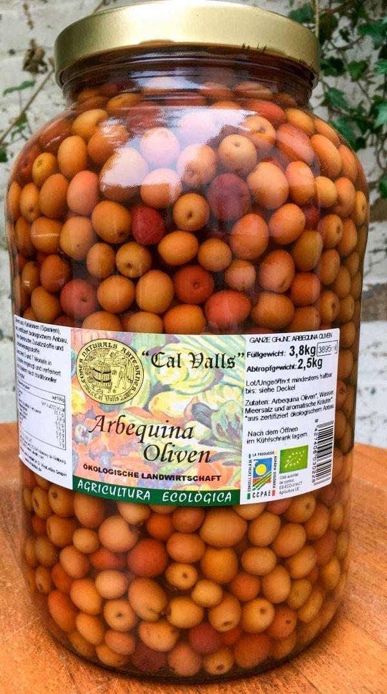 bio Arbequina Oliven im Glas, 2500g