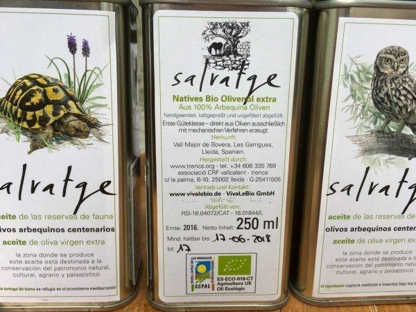 Salvatge Bio Olivenöl in 0,25l Dose