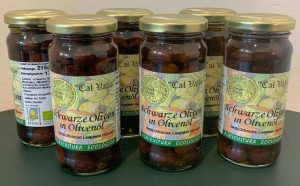 Schwarze Bio Oliven in Bio Olivenoel