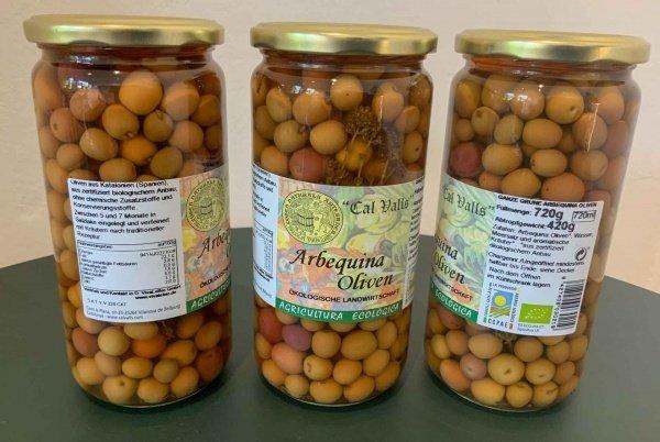 Bio Arbequina Oliven, 420g im Glas
